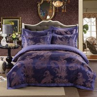 silk sheets - 2015 Luxury Bed in a bag silk cotton bedding set Queen King size Graceful Purple satin duvet comforter quilt cover bed sheet bedclothes