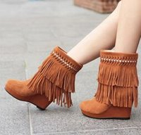 boots ladies boots - Wedge High Heel Platform Nubuck Leather Fringe Winter Women Ankle Boots Lady Sexy Tassel Flock Short Boots Size SXQ0529