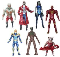 Cheap 7pcs set super hero Guardians of the Galaxy Groot Rocket Raccoon Toys PVC Action Figures 13CM Collection Model Doll 201506HX