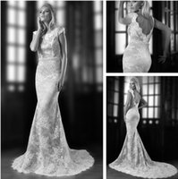 Wholesale High Quality Sexy Mermaid Cut Chantilly Lace Wedding Dress With Cap Sleeve High Low Back Fitted Torst Court Train Mermaid Wedding Gowns