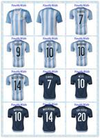 argentina blue - New Camiseta Youth Kids DI MARIA HIGUAIN MESSI MARADONA KUN AGUERO Argentina White Blue MASCHERANO Soccer Jersey