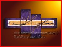 Cheap Framed 4 Panel High End Large Purple Painting Canvas Wall Art Interior Decoration Home Pictures XD01536