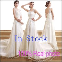 Wholesale In Stock Sheer Neck Wedding Dresses Castle Backless Lace Appliques Real Image Formal Bridal Party Gowns for Bride Ivory Cheap Chapel WN