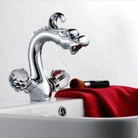Wholesale 8 quot Chrome Dragon Basin Faucets crane Bathroom Brass Faucet Sink Basin Mixer Tap C3089
