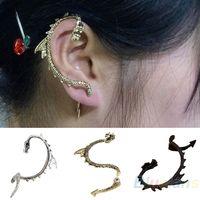 Wholesale Women Gothic Punk Game of Thrones Dragon Ear Cuff Stud Earring Black Silver Bronze AJ