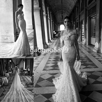 beach cape - Sweetheart Backless with Beaded Appliques Lace beach Mermaid Wedding Dresses with cape Vestido Inbal Dror Cheap Bridal Wedding Gown