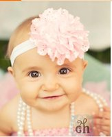 Wholesale cute baby hair rubber bands chiffon flower children headbands elastic headband for infant