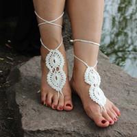 Wholesale Lady Stylish Barefoot Sandals Crochet Cotton Foot Jewelry Anklet Crochet Barefoot Sandals Bracelet Ankle Chain DHL