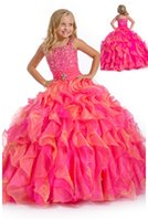 Wholesale 2015 Fashion Girls Pageant Dresses Custom Made Party Prom Formal Gowns Hot Pink Tiered Ball Gown Spaghetti Strap Beaded Flower Little Girl