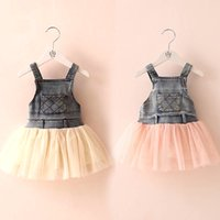 Wholesale New Children s Clothing Washed Denim Kids Jeans split Suspender Dress Lace TUTU Tiered Tulle Strap Dresses Baby Girls s Cowboy Party Dress