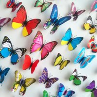 Wholesale 12pcs New D three dimensional butterfly home decoration wall stickers bedroom wall stickers television background adsorption double sided