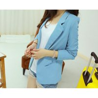 Cheap Newly 2014 European Candy Color Single Button Blazer Women Suit Foldable Suit Femininas Clothes