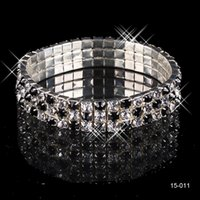 Wholesale Hot Rhinestone For Wedding Elastic Row Bridal Bangle Bracelet Crystal Wristband Black Pearl Jewelry Accessories In Stock