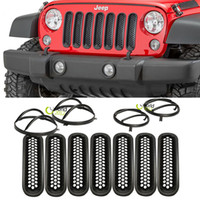 jeep wrangler - 1Set Auto Front Grill Insert Grille Cover Trim Turn Signal Lamp Guard Headlight Cover Guards For Jeep Wrangler JK
