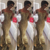 Wholesale Sparkle Royal Blue Dress - 2016 Sexy Sweetheart Sparkling Sequined Ruffles Gold Mermaid Prom Dresses Sweep Train Split Side Long Formal Evening Gowns Custom made