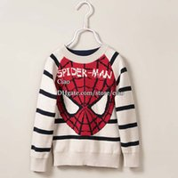 kids winter sweater - Spiderman Crochet Sweater Boys Pullover Kids Sweater Children Clothes Kids Clothing Children Pullover Autumn Winter Pullover Sweaters L44312