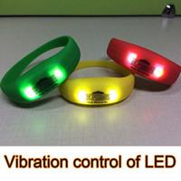 Wholesale Vibration control of light emitting Bracelet LED Lighted Bracelet LED Flashing Arm Band Wrist Strap Night Light
