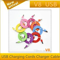 Wholesale 1M Micro V8 Noodle Flat Data USB Charging Cords Charger Cable Line for Samsung Android Phone MQ500