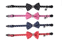 Collars bell tie - Breakaway Polka Dot Cotton Fabric Puppy Small Dog Cat Collar with Rhinestone Bow Tie