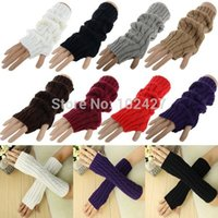 Wholesale Pair Fashion Girl Ladies Long Fingerless Gloves Winter Warm Arm Knitted Wool Mitten Gloves Retail amp