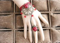 Wholesale Elegant Red Crystal Vintage Lace Hand catenary Bridal Jewelry Rose Lace Party Bracelet Ring Bangle Bridal Party Bracelet S027