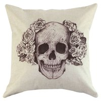 Cheap 1 Pieces Skull Square New Composite Linen Blend Pillow Case Throw Body Pillow Bed Home Textile LW204