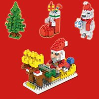 Wholesale Christmas Present Gift Santa Claus Christmas Tree Stocking Bear Model Building Blocks Figure Classical Toys for Children