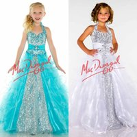 girls pageant dresses size 10 - Little Girls Pageant Dresses Sequins Beades Toddler Pageant Dress Organza Plus Size Flower Girls Dress Halter Ruffles Floor Length