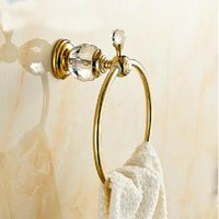 Wholesale And Retail Golden Brass Bathroom Towel Ring Round Towel Holder Wall Mounted Towel Hanger Crystal Hooks