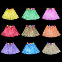 Wholesale Hawaiian Grass Skirts Photography Props Hula Cheer Skirt with flowers cm Grass Skirts Beach Party Dance Fans Grass Skirt