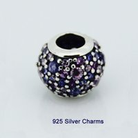 authentic pandora bead blue - Fits Pandora Charms Bracelet Authentic Sterling Silver Bead Purple Pink Pave Lights Women Charm DIY Jewelry