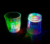 beverage glass lot - Colorful Led Party Light Flashing Shot Glass Led Plastic Luminous Cup Neon Cup Birthday Party Night Bar Wedding Beverage