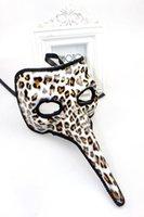 animal nose masks - New Venetian Zany mask Long nose masquerade ball masks brown color drop shipping festive party supplies
