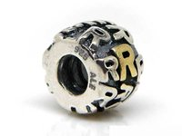 alpha beads - Sterling Alpha R Silver letter charms and Beads fit European Bracelet fashion jewelry Mix Min order is