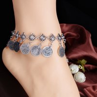 Wholesale Gypsy Antique Silver Turkish Coin Chain Anklet Retro Tassel Ankle Charm Carved Bracelet Foot Jewelry