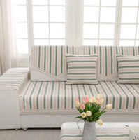 Wholesale High Quality Stripe Sofa Cover Couch Cover Cape Thick Cotton Polyester Fabric Slipcover L Shape Sectional Cushion Cover