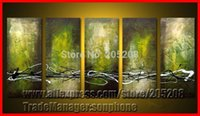 Cheap Framed 5 Panel large Green Abstract Paintings Canvas Oil Picture Wall Art Home Decoration Quadros XD00656