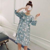 Mini Dress for Spring online - 1602# Cotton Linen Print Maternity Dress 3 4 Frenal Sleeve Clothes for Pregnant Women Plus Size Loose Fashion Pregnancy Clothing