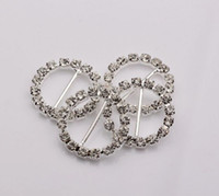 Wholesale Hot sell Round Crystal Rhinestone Ribbon Slider Buckles Wedding Invitations Decorative mm