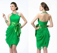 apples christmas light - 2015 Green Short Cocktail Dresses Unique Style Sheath Halter Backless Ruffles Beaded Crystals with Sash Formal Christmas Homecoming Gowns
