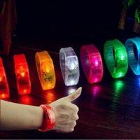 Wholesale Sound Sensor Activates Led - Voice Control Sound Activated Sensor LED Flashing Bracelet Glowing Shining Bracelets Bangle WristBand Wrist Strap 100PCS Wholesale