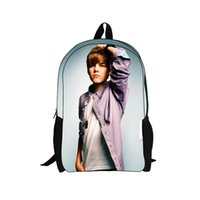 Wholesale Hot Music Star Justin Bieber D Printing Backpack Men Children School Backpacks for Teenagers Girls Kids Bagpack