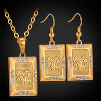 allah jewellery - Factory K Real Gold Plated Muslim Allah Jewelry Sets High Quality Islamic Crystal Women s Necklace Earrings Jewellery VS642