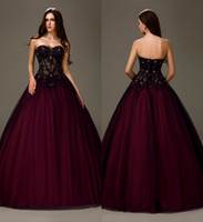 ball gown prom dresses - Sexy Black Purple Two Tones Long Ball Gown A line Princess Strapless Sheer Bodice Girls Ball Prom Dresses pd9937