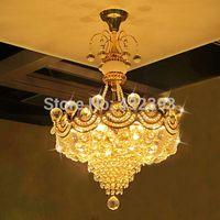 Wholesale Modern Luxury K9 Crystal Gold Chandelier Lustre de crystal Ceiling Lamp home decorative fixture Pendant Living Room Indoor Lamp