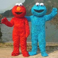 animal elmo - New Product Adult Size Lovely Cartoon Costumes COUPLE SESAME STREET MONSTER COOKIE AND ELMO COSTUME ADULT MASCOT wall street