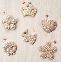 Wholesale 100pcs pearl embellishment for handmade flower flower center buttons flatback rhinestone embellishment for ribbon bow