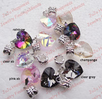 beads wholesale bulk - Bulk Dangle Crystal Glass Heart Charm Beads