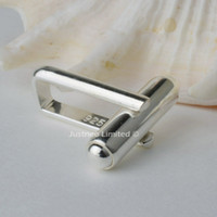 men jewelry accessory - Cuff link base solid sterling silver man cufflink connection clasp components men jewelry connector accessories finding part