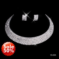 crystals for sale - Hot Sale New Crystal Rhinestone Necklace Earring Sets Bridal Accessories Jewelry for Wedding Party Evening Prom In Stock Cheap